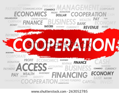 COOPERATION word cloud, business concept - stock vector