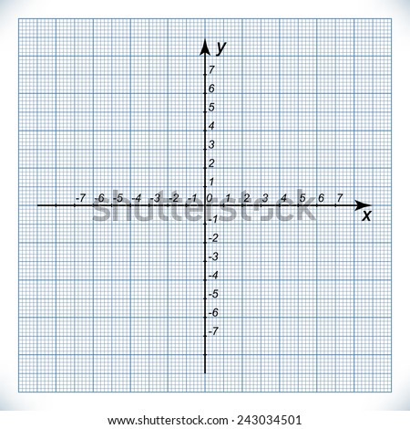 Coordinate axis on the graph paper with the origin at the center. Template for graphing functions. Mathematical graphic element - cartesian coordinate system. Vector image. - stock vector