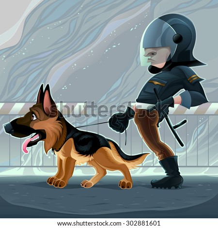 Cop with dog. Vector cartoon illustration - stock vector