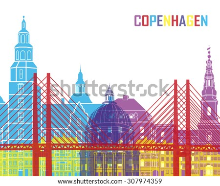Copenhagen skyline pop in editable vector file - stock vector
