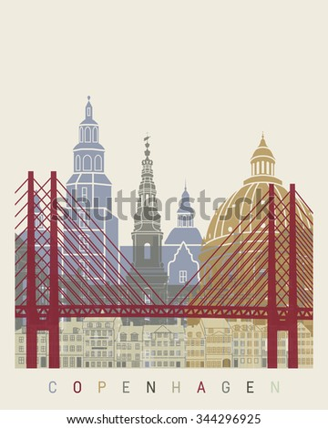 Copenhagen skyline poster in editable vector file - stock vector