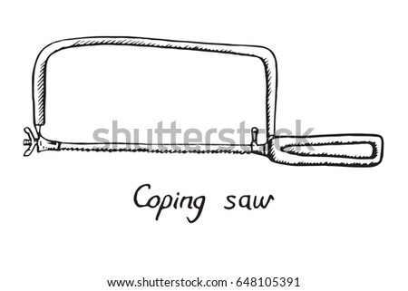 coping saw hand drawn doodle sketch stock vector hd royalty free rh shutterstock com  coping saw parts and function