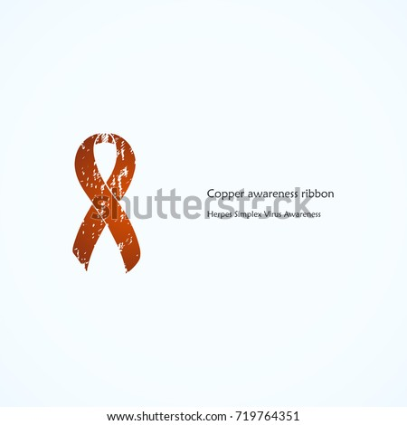 Copper Awareness Ribbon Painted Herpes Simplex Stock Vector Hd