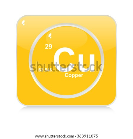 copper chemical element button - stock vector