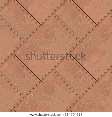 copper plates with rivets seamless texture - stock vector