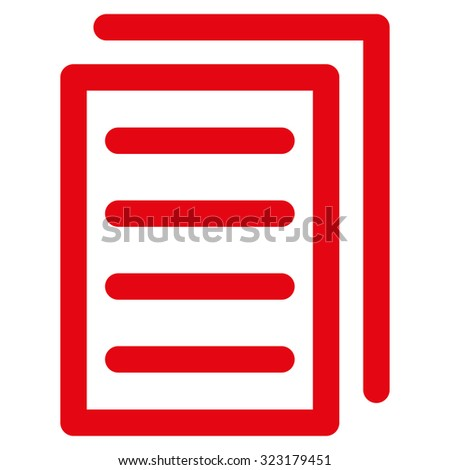 Copy Document vector icon. Style is flat symbol, red color, rounded angles, white background.