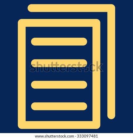 Copy Document vector icon. Style is flat symbol, yellow color, rounded angles, blue background.
