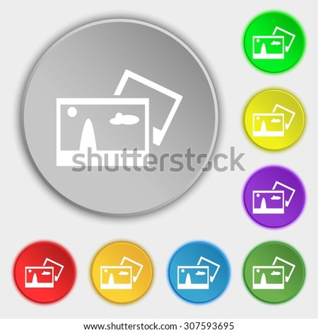 Copy File JPG sign icon. Download image file symbol. Symbols on eight flat buttons. Vector illustration - stock vector