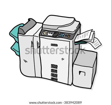 Copy Machine, a hand drawn vector illustration of a copy machine. - stock vector