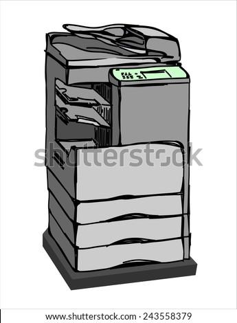 Copy Machine.Vector sketch style  - stock vector