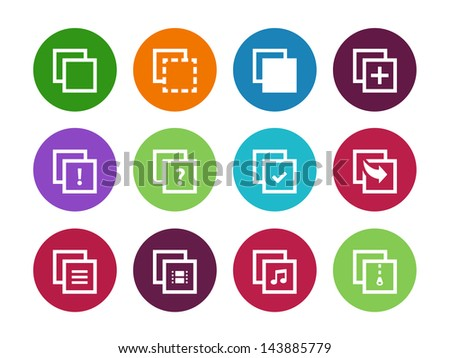 Copy Paste circle Icons for Apps, Presentations, Web Pages. Vector illustration.  - stock vector