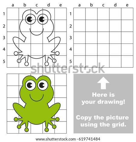 Copy the picture using grid lines the simple educational game for preschool children education with