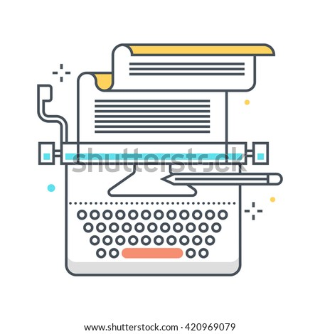 Copy writing color line, concept illustration, icon, background and graphics. The illustration is colorful, flat, vector, pixel perfect, suitable for web and print. It is linear stokes and fills. - stock vector