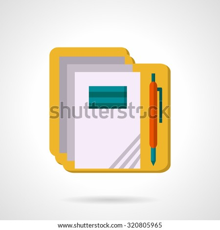 Copybooks and pen. Flat style vector icon. Supplies and stationery for school and office. Elements of web design for business and website. - stock vector