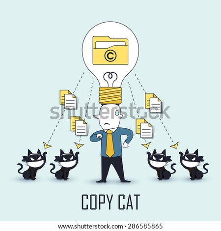 copycat concept: data be stolen by others in line style - stock vector