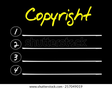 Copyright blank list, business concept - stock vector