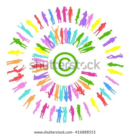 Copyright made of Vector Silhouettes Illustration  - stock vector