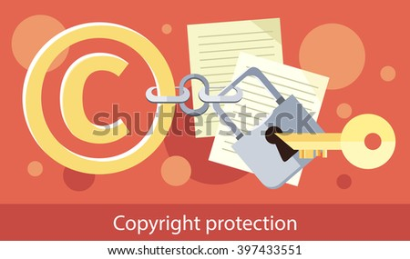 Copyright protection design flat. Copyright and protection, intellectual property symbol, patent and copyright law, piracy business, law property, secure mark license vector illustration - stock vector