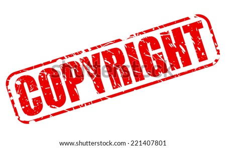 Copyright red stamp text on white - stock vector
