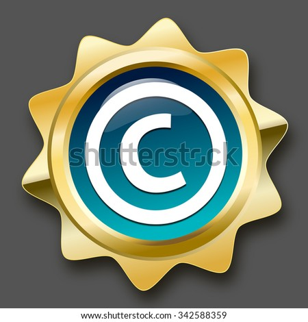 Copyright seal or icon with © symbol. Glossy golden seal or button. - stock vector