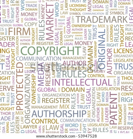 COPYRIGHT. Seamless vector background. Wordcloud illustration. - stock vector