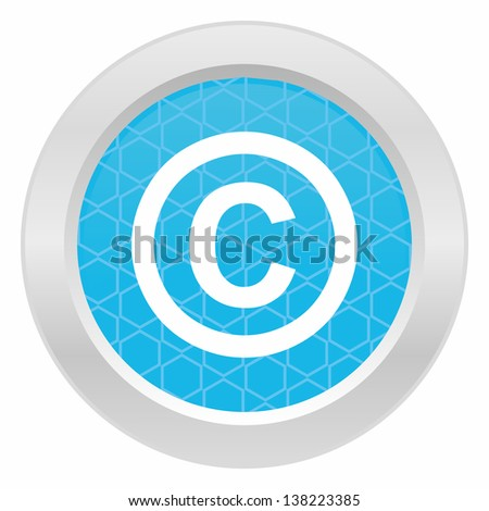 Copyright sign - Blue button with metallic frame on white background - stock vector