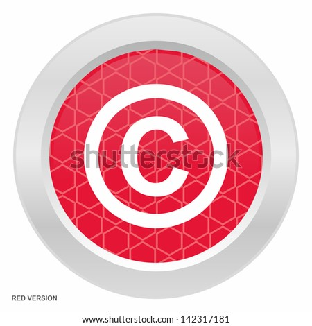 Copyright sign - Red button with metallic frame on white background - stock vector