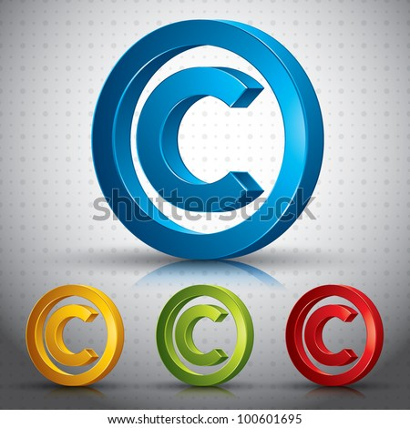 Copyright symbol 3d vector sign. - stock vector