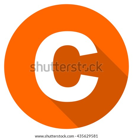 copyright vector icon, orange circle flat design internet button, web and mobile app illustration - stock vector