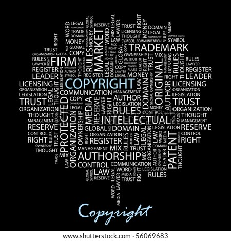 COPYRIGHT. Word collage on black background. Illustration with different association terms. - stock vector