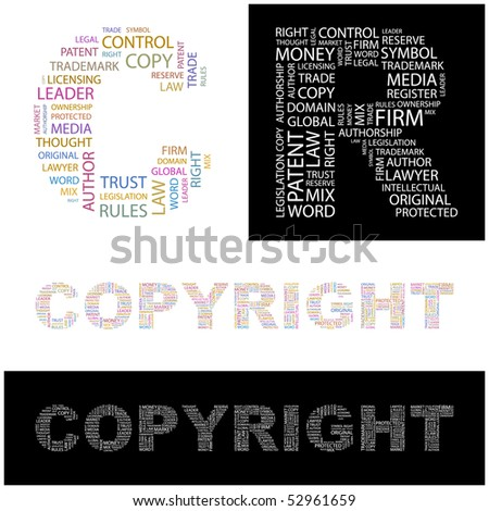 COPYRIGHT. Word collage. Vector illustration. - stock vector