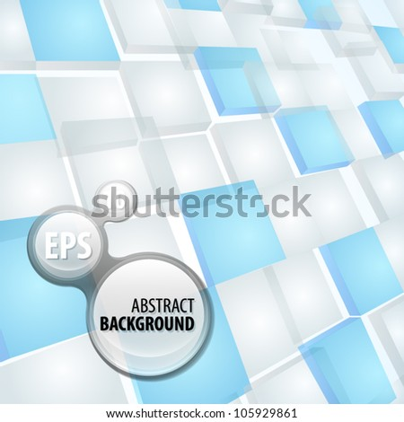 Copyspace light background made of dimensional white and blue plates - stock vector