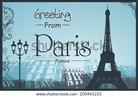 Copyspace Retro Style Poster With Paris Symbols and Landmarks - stock vector