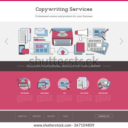 Copywriting and editing web template, seo, publishing and content writing concept - stock vector