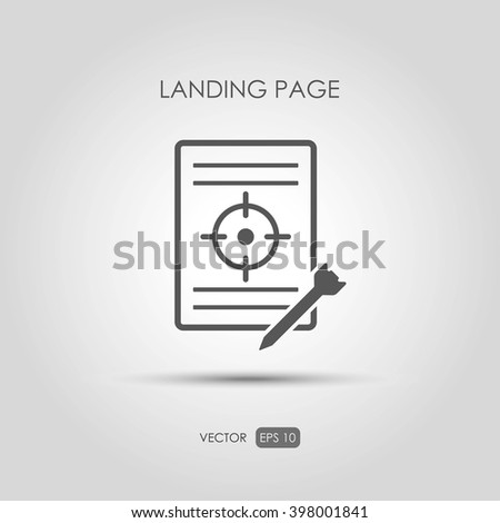 """Copywriting icon """"Landing page"""" in linear style. Vector illustration - stock vector"""