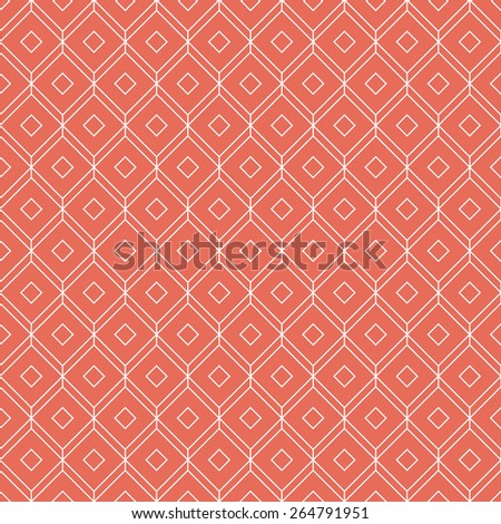 coral pink isometric grid background. seamless vector pattern, each detail in separate layer. - stock vector