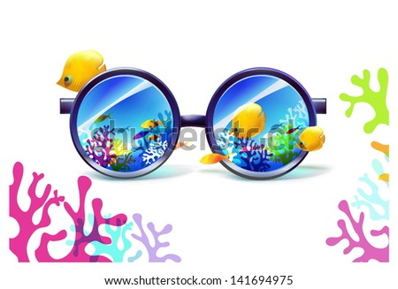 coral reef in sunglasses on a white background - stock vector