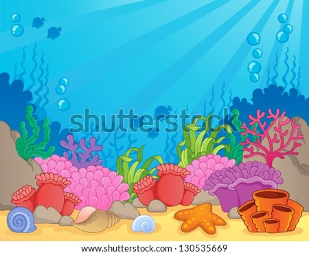 Coral reef theme image 4 - vector illustration. - stock vector