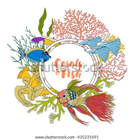 Coral reef with corals and fish. Card, banner with space for text. Colored Vector illustration. - stock vector