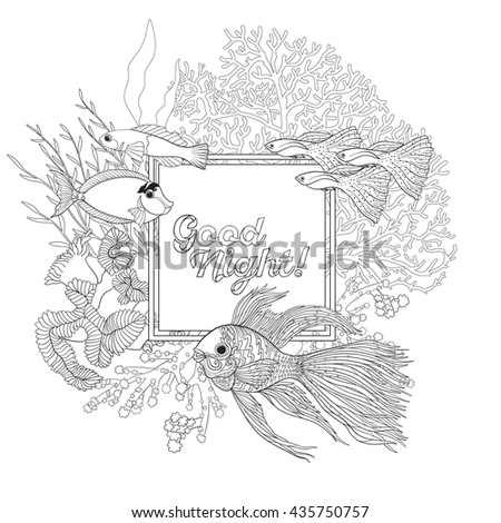 coral reef with corals and fish coloring book for adult and older children outline - Coral Coloring Pages