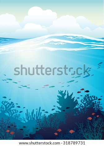 Coral reef with school of fish and white waves on a blue sea background. Vector underwater illustration. - stock vector