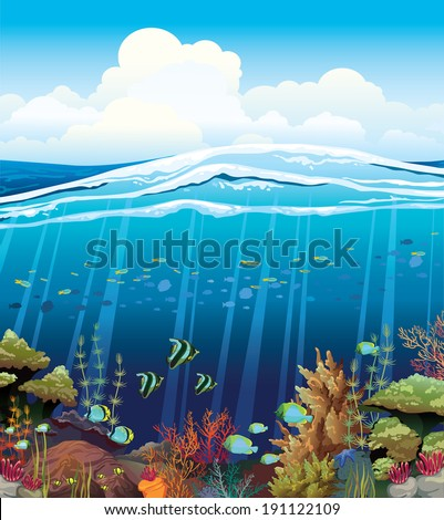 Coral reef with underwater creatures and blue cloudy sky.  - stock vector