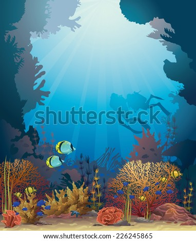Coral reef with underwater creatures and two scuba divers on a blue ocean background. Nature sea vector. - stock vector
