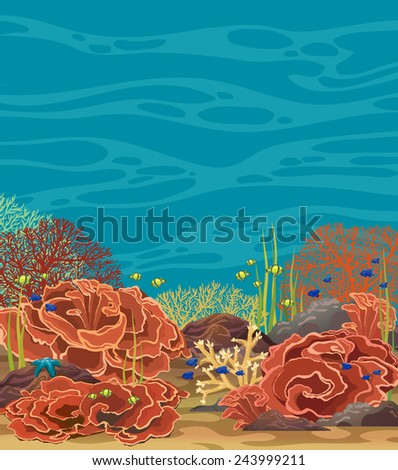 Coral reef with underwater creatures on a blue sea. Underwater vector illustration. - stock vector