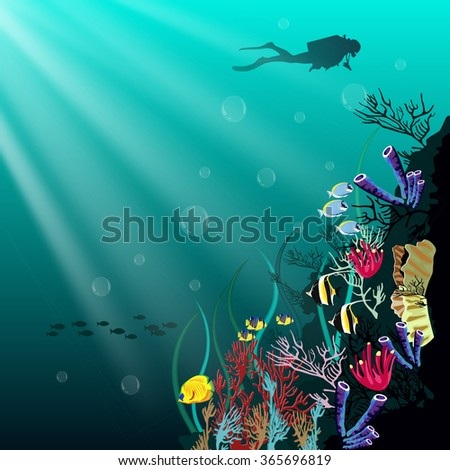Coral reef with various species of fish and silhouette of diver over blue sea background - stock vector