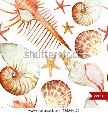 corals, watercolor, shell, starfish, without seams,background, pattern