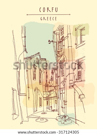 Corfu, Greece, Europe. Artistic freehand illustration postcard with a touristic city view. Retro style sketch. Buildings, palm trees, lamp. Greeting card template with Corfu, Greece hand lettering