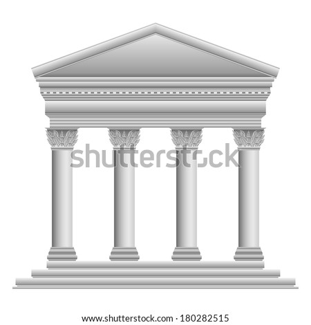 Corinthian Greek temple on white background.