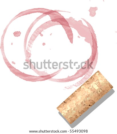 cork and wine stains - stock vector