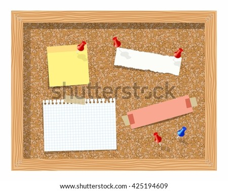 Cork board with pinned paper notepad sheets realistic vector illustration. vector illustration board for notes. A noteboard made of cork with some pins and blank papers - stock vector